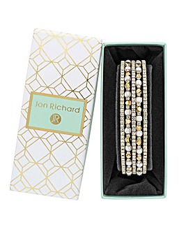 Gold Plated Cream Pearl Crystal Diamante Cuff Bracelet - Gift Boxed