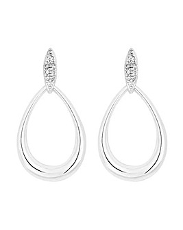 Simply Silver Pave Top OvalDrop Earring