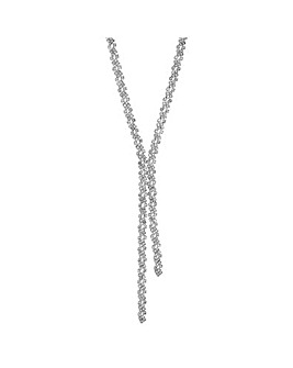 Mood Silver Crystal Lariat Necklace