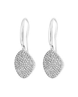 Simply Silver Pave Organic Drop Earring