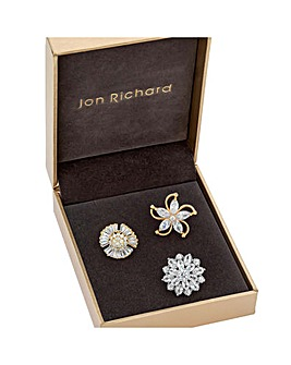 Jon Richard Flower Pack Of 3 Brooches