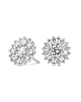 Sterling Silver 925 Cubic Zirconia Snowflake Stud Earring