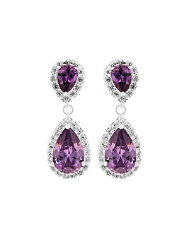 Silver Plated Purple Pear Drop Earring