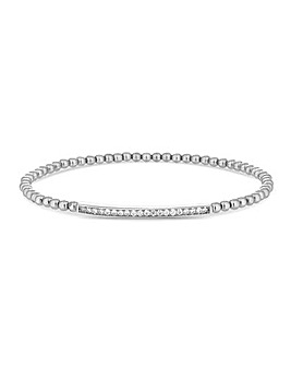 Simply Silver Bar Beaded Stetch Bracelet