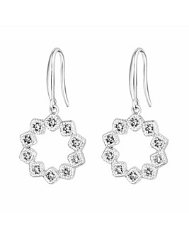 Simply Silver Floral Open Drop Earring