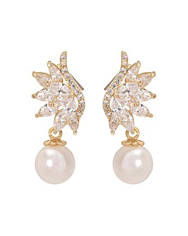 Gold Plated Cubic Zirconia Angel Wing Pearl Drop Earring