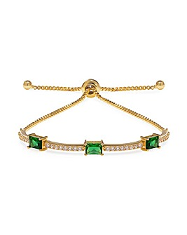 Jon Richard Gold Green Baguette Toggle