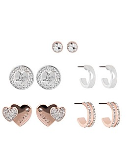 Two Tone Plated Heart And Hoop Mix Earrings 5 Pack