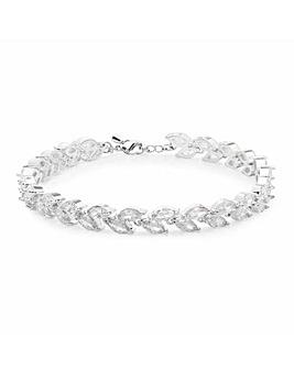 Silver Plated Cubic Zircnonia Multi Navette Bracelet