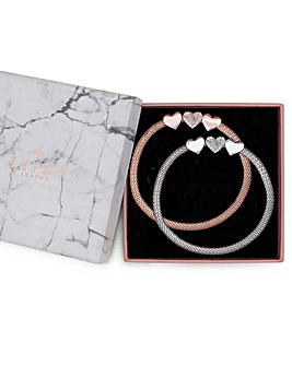 Lipsy Two Tone Mesh Heart Bracelet Set
