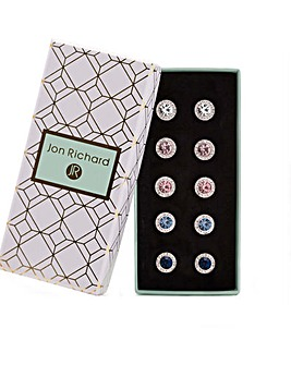 Silver Plated Crystal Clara Earrings Pack Of 5- Gift Boxed