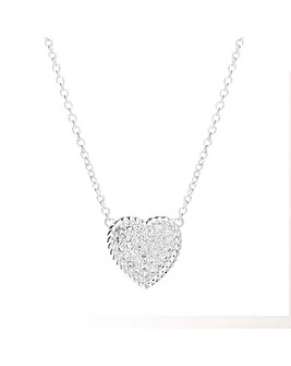 Simply Silver Pave Rope Heart Pendant