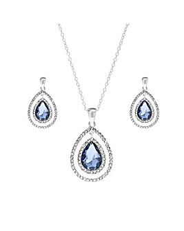 Mood Blue Teardrop Halo Necklace Set