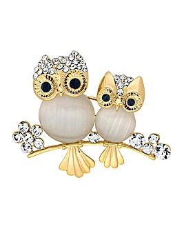 Jon Richard Mother And Baby Owl Brooch