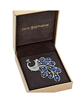 Jon Richard Blue Peacock Brooch