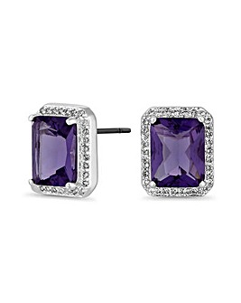 Silver Plated Purple Stud Earrings