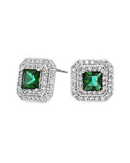 Jon Richard Silver Green Square Studs