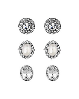 Mood Crystal Stud Earrings - Pack Of 3