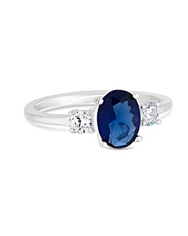 Sterling Silver 925 Cubic Zirconia Blue Tri Stone Ring