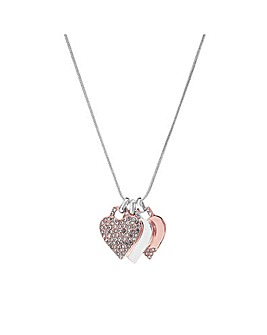 Silver Plated Two Tone Heart Pendant Necklace - Gift Boxed