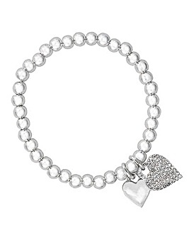 Silver Plated Heart Pendant Stretch Bracelet - Gift Boxed