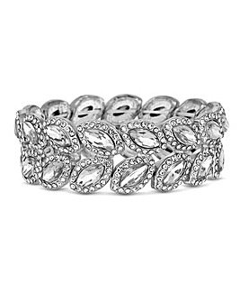 Mood Crystal Pave Leaf Stretch Bracelet