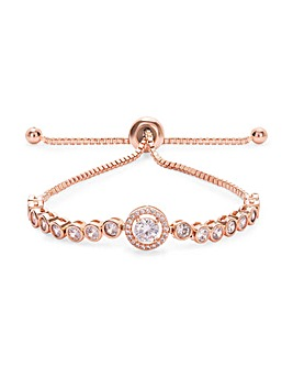 Rose Gold Plated Center Stone Tennis Toggle Bracelet
