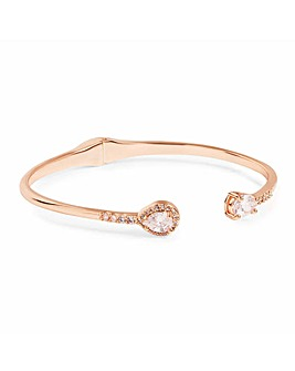 Rose Gold Plated Pear Crystal Open Cuff Bangle