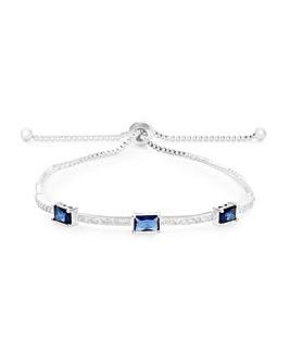 Silver Plated Blue Baguette Pave Toggle Bracelet