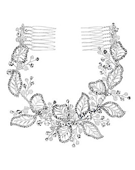 Silver Plated Clear Crystal Olivia Pave Leaf Double Comb Hair