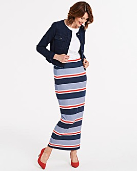 Stripe Stretch Jersey Maxi Tube Skirt