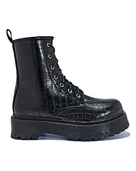 Black Croc Lace Up Boots Standard Fit