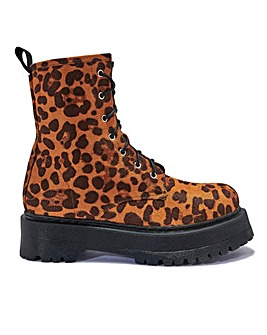 Leopard Lace Up Boots Standard Fit