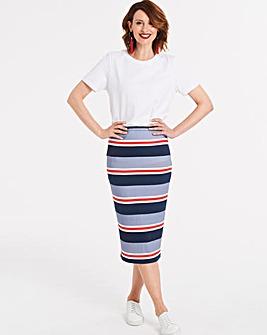 Stripe Stretch Jersey Midi Tube Skirt