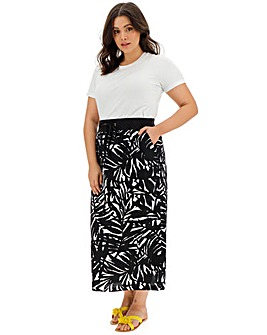 Print Slouch Linen Rich Maxi Skirt
