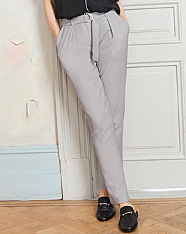 Tapered Crepe Belted Trousers