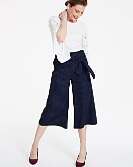 Pinstripe Tie Front Culottes