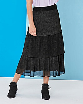 Tiered Glitter Midi Skirt