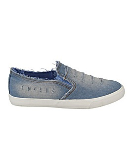 Denim Slip On Pumps Standard Fit
