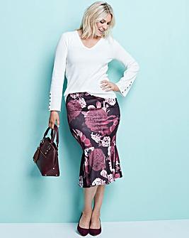 Print Peplum Hem Midi Skirt