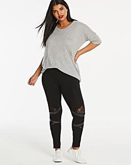 Lace & PU Panel Jersey Leggings
