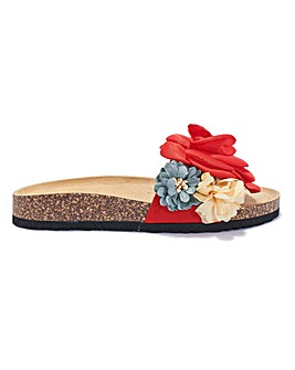 Floral Footbed Sliders Standard Fit