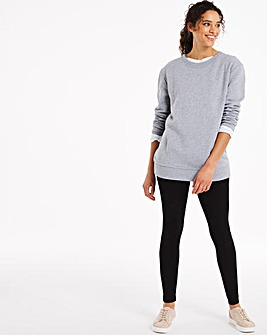 High Waist Cotton Rich Jersey Leggings Long