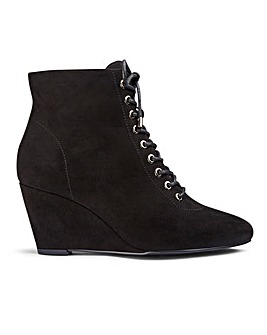 Bailey Lace Up Wedge Boot Wide Fit