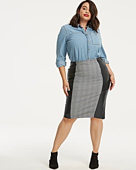 Black&Grey PU & Check Panel Pencil Skirt