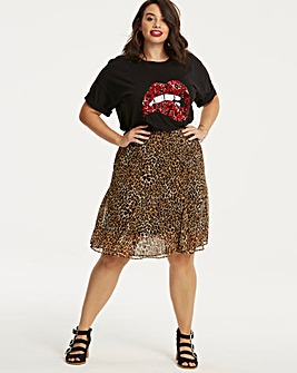 Animal Print Flippy Hem Skirt