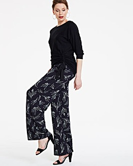 Petite Floral Wide Leg Jersey Trousers