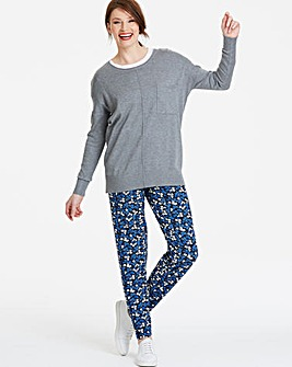 Regular Print Tapered Jersey Trousers