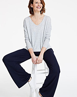 Wide Leg Stretch Jersey Trousers Long