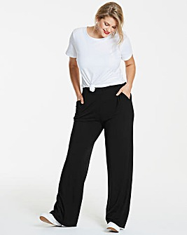 Wide Leg Stretch Jersey Trousers Short